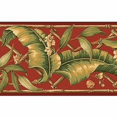 878916 Tropical Leaves Wallpaper Border GE57113b