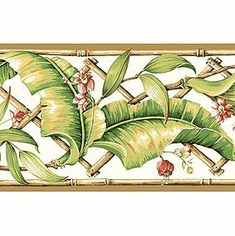 878917 Tropical Leaves Wallpaper Border GE57111b