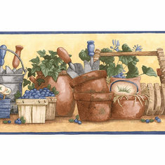 878936 Watering Can Garden Pots Wallpaper Border