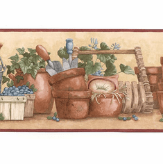 878937 Watering Can Garden Pots Wallpaper Border