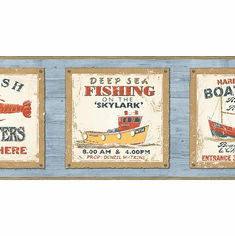 878941 Rustic Fishing Coastal Signs Wallpaper Border