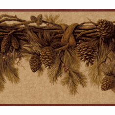 878943 Pine Cones Pine Branch Wallpaper Border