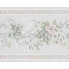 878964 Satin Floral Scrolled Wallpaper Border
