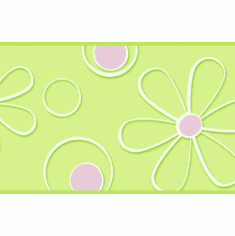 878978 Pink Green Daisy Dot Wallpaper Border