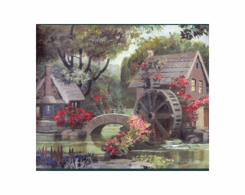 878998 Victorian English Cottages and Mill Wallpaper Border