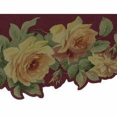 879014 Antique Yellow Rose Wallpaper Border