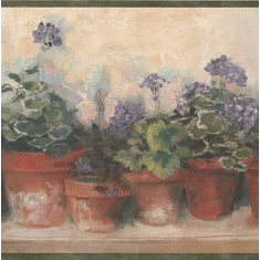 879024 Potted Geraniums Wallpaper Border