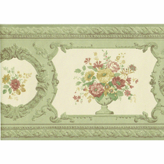879055 Satin Victorian Floral Wallpaper Border FDB02010 979b02010