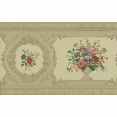 879056 Gold Satin Victorian Floral Wallpaper Border FDB02009 979b02009
