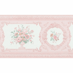 879057 Peachy Pink Satin Victorian Floral Wallpaper Border FDB02007  979b02007