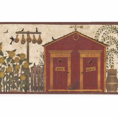 879070 Folk Art Outhouse Wallpaper Border HA61063b