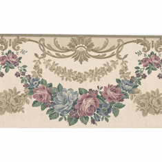 879072 Satin Victorian Wreath Swag Wallpaper Border