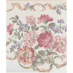 879075 Satin Swag Floral Wallpaper Border