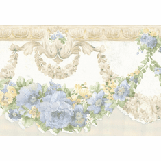 879081 Scalloped White Satin Blue & Yellow Flowers Wallpaper Border