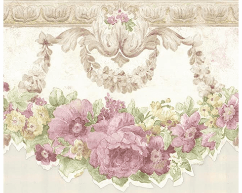 879082 Scalloped White Satin Pink Flowers Wallpaper Border