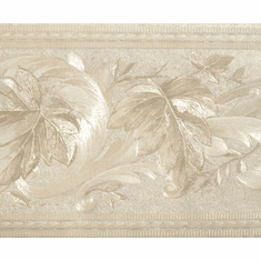 879083 Satin Tone on Tone Scrolled Leaves Wallpaper Border 976B06626