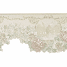 879084 Scalloped Satin Floral Bird Wallpaper Border