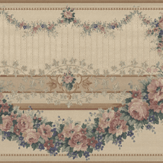 879087 Gold Satin Victorian Floral Swag Wallpaper Border