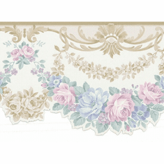879091 Beige Satin Floral Swag Wallpaper Border