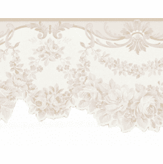 879092 Beige Satin Floral Swag Wallpaper Border