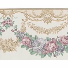 879094 Swag Satin Floral Wallpaper Border b5167s