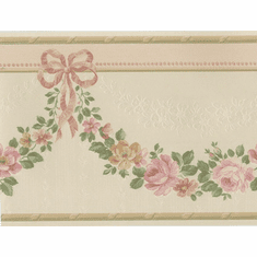 879100 Satin Floral Rose Swag Wallpaper Border