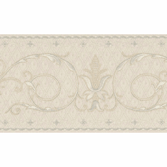 879103 Tufted Silver on Creme Wallpaper Border