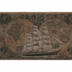 879106 Satin Old World Sailing Ship Map Wallpaper Border