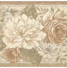 879107 Muted Contemporary Floral Wallpaper Border
