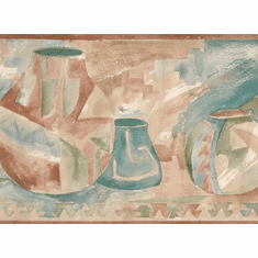 879108 Southwest Clay Pottery Wallpaper Border