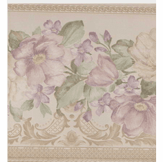 879110 Satin Floral Wallpaper Border b4643