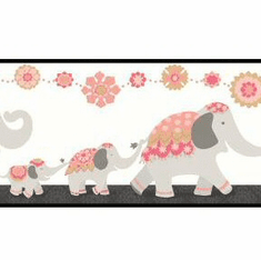 879130 Follow The Leader Elephant Wallpaper Border WK6897bd