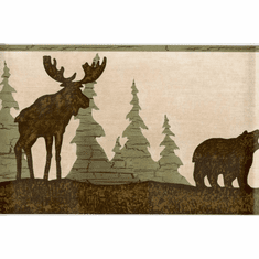 879151 Moose, Bear, Pine Trees Silhouettes Wallpaper Border FDB03841