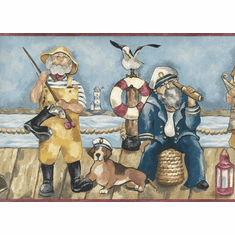 879155 Comical New England Fishermen on Dock Wallpaper Border