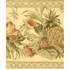 879158 Tropical Flowers, Fruit, Pineapple Wallpaper Border