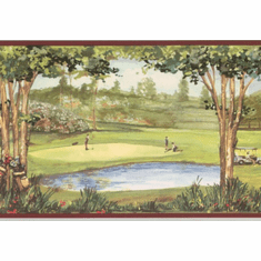 879164 Golfers on Golf Course Wallpaper Border