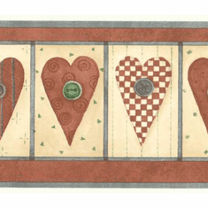 879168 Country Button Hearts Wallpaper Border