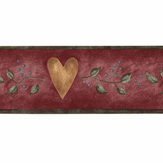 879170 Narrow Hearts Leaves and Berries Wallpaper Border 245b57476