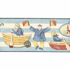 879173 Whimsical Nautical Sailors Wallpaper Border