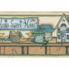 879176 Home Sweet Home Country Shelf Wallpaper Border
