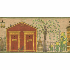 879177 Primitive Country Outhouses Wallpaper Border