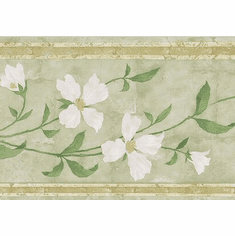 879178 White Flowering Vine Wallpaper Border