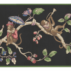 879181 Monkeys on Tree Wallpaper Border