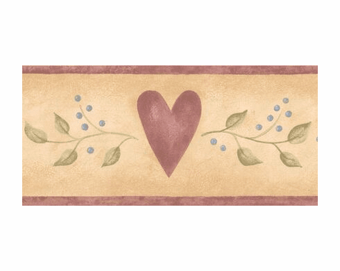 879186 Hearts and Leaves Wallpaper Border