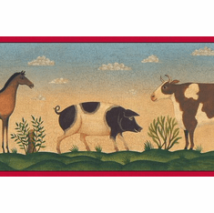 879194 Primitive Folk Art Animals Wallpaper Border