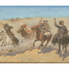 879198 Charging Cowboys Horses Wallpaper Border