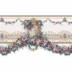 879200 Satin Floral Rose Swag Wallpaper Border