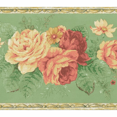 879212 Vintage Floral Green Wallpaper Border