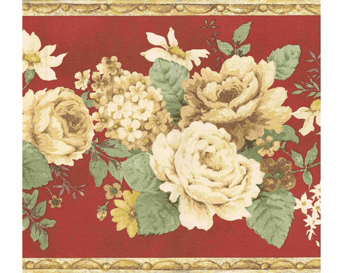 879213 Vintage Floral Red Wallpaper Border