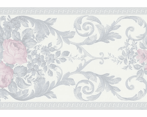 879215 Satin Floral Scroll Wallpaper Border